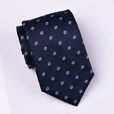 Blue Herringbone Twill Wide Woven Tie Light Spade Emblem Formal Business Dress