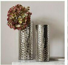 Very Set Of 2 Hammered Cylinder Vases Chrome