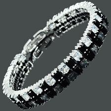 Schmuck Black Onyx Cubic Zirconia Square 18K White Gold Plated Tennis Bracelet
