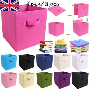4/8 Foldable Canvas Storage Box Collapsible Folding Fabric Cube Cloth Basket Bag