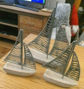 Set of 3 wood & Wire Decorative Boats from M&S. Superb Undamaged Condition