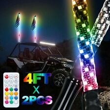 Pair 4Ft Lighted Spiral Led Whip Antenna w/Flag & Remote For Atv Polaris Rzr Utv