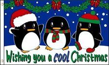 3x5 Wishing you a Cool Christmas Flag Penguins Penguin Northpole Banner Grommets