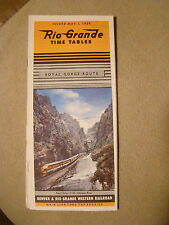 Rio Grande - Time Table - May 1, 1959