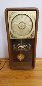 Vintage Electric Miller High Life Pendulum Wall Clock Beer 1980