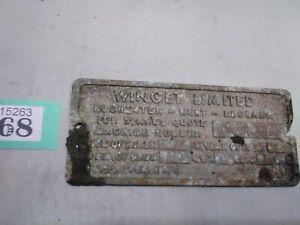 Vintage Metal Name Plate Winget Ltd