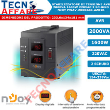 Stabilizzatore di Tensione 2000VA Filtro AVR Display Digitale 1600W Njoy Akin