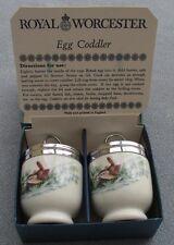Set TWO Royal Worcester Porcelain Egg Coddlers BIRDS Wrens Sparrows Mint in Box