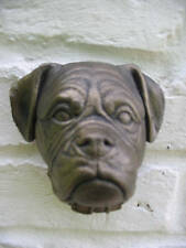 BOXER DOG HEAD WALL PLAQUE - HEAVY STONE - INDOORS/OUT