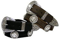 "Men's Western Leather Jean Belt 1-1/2"" wide Black Brown New"