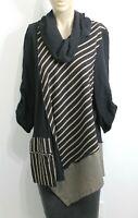 MOONLIGHT Y&S FASHION DESIGN Black LAGENLOOK Tunic TOP Blouse Art To Wear Size M