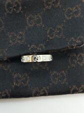 GUCCI 18K White Gold Icon Eternity Diamond Wedding Band Ring - Size 6.25