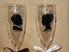 Hand Painted Personalised Bride & Groom Champagne Flutes / Glasses. Wedding Gift