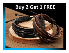 UNISEX BLACK & BROWN LEATHER WRISTBAND BRACELET BRAIDED MULTILAYER Free Delivery