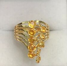 14k Solid Yellow Gold Cute Moving Ring, Natural Yellow Sapphire 2TCW, Size 7.75