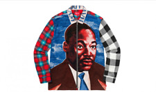 Supreme MLK Zip Up Cotton Flannel Shirt Size Large Martin Luther King Jr NEW