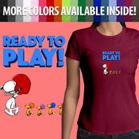 Peanuts Ready Play Football Snoopy Woodstock Team Girls Juniors Tee T-Shirt Top