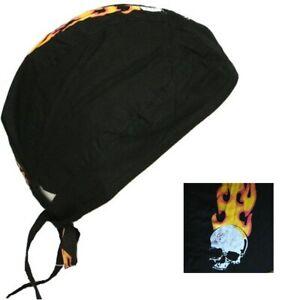 Fitted Bandana Cotton Headscarf Durag Zandana Tie Fit Neck Flap Black Fire Skull