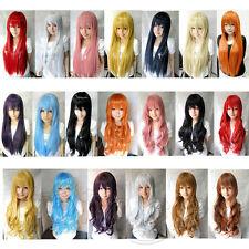 Perücke Lang 80 cm Anime Manga Cosplay Haarersatz Damenperücke Wig Gelockt Glatt