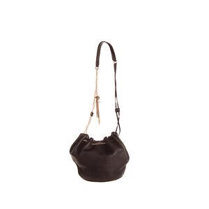 RRP €385 DIANE VON FURSTENBERG Leather Bucket Bag HANDCRAFTED Chain Tassel