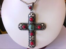 LARGE Sterling Silver 925 India Turquoise/Coral Designed Cross Pendant. BUY NOW!