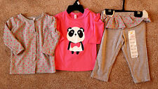 NWT Girl's Size 6-9-12 M Months 3P Gray Polka Dot Cardigan, Panda Top & Leggings