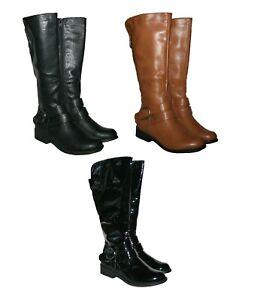 LADIES BLACK, TAN & BLACK PATENT KNEE HIGH RIDING FASHION BOOT WITH ZIP 3-8