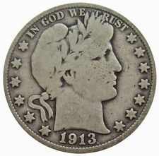 1913 SILVER UNITED STATES BARBER HALF DOLLAR COIN VERY GOOD CONDITION