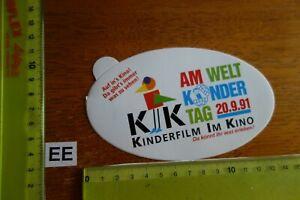 Alter Aufkleber Bühne Film Kino Video KINDERFILM im KINO 20. 9.1991