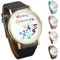 Women Watches Casual Leather Watch Wathever I am Late Anyway Letter Wristwatches