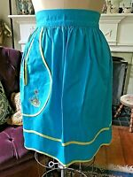 Half Apron 1960s Turquoise Blue & Yellow Cotton Hand Embroidered Flower Pocket