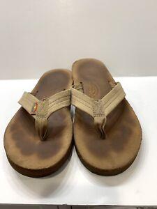 Rainbow Classic Leather Flip Flops Sandals Sand Tan Brown Casual Men's 9.5-10.5