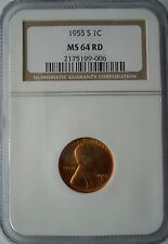 1955S MS64 RD Red NGC Lincoln Wheat Ear Penny One Cent Coin A10