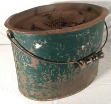Antique Green Metal Minnow Bucket Wood Handle Galvanized Old Rustic
