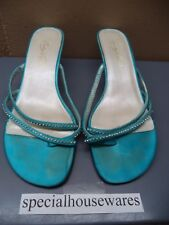 "Michaelangelo ""Marly"" Sandals Light Blue with Crystal Bling Womans Size 10W VGC"