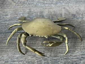 Vintage Brass Crab Ash Tray Removable tray Jointed claws Trinket Dish