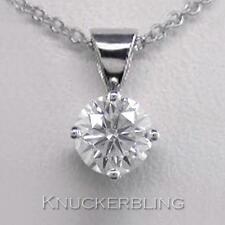 0.30ct F SI Exc Round Brilliant Cut Diamond & 18ct White Gold Pendant with Chain