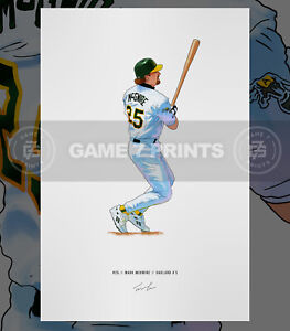 Mark McGwire Oakland A's Athletics Baseball Illustrated Print Poster Art