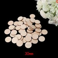 100X Unfinished Wooden 10-50mm Round Discs Rustic Embellishments DIY Art Crafts&