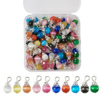 100pcs Cat Eye Round Pendants Mini Smooth Stone Charms DIY Jewelry Making 15x8mm