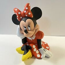 """Vintage Disney Minnie Mouse Polka Dots Red Dress Hard Plastic Coin Piggy Bank 7"""""""