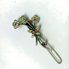 Vintage Sterling Silver 925 Rhinestone Diamante Crystal Flower Hair Pin/Dresser