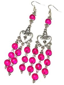 Long Pink Chandelier Earrings Glass Bead Drop Dangle Gypsy Hippy Retro Chic Boho