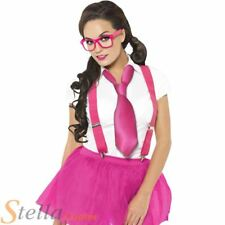 Ladies Pink School Girl Geek Hen Party Fancy Dress Kit - Glasses, Tie & Braces