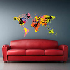 Full Color Wall Decal Sticker World Map Watercolor Water Paintings (Col489)