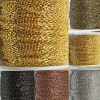 1/5/100M Cable Open Link Iron Metal Chain Jewelry Findings 6Colors U Pick 3x4mm