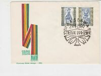 Poland 1960 Polish Folk Costumes +  Slogan Cancel FDC Stamps Cover ref 22972