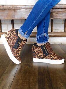 NIB Not Rated Footwear Timmibelle Leopard Wedge Sneaker Women's 9.5 SUPER CUTE!