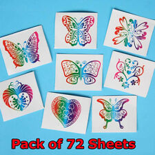 Pack of 72 Laser Butterfly Temporary Tattoo Kids Boys Girls Party Supplies Bag
