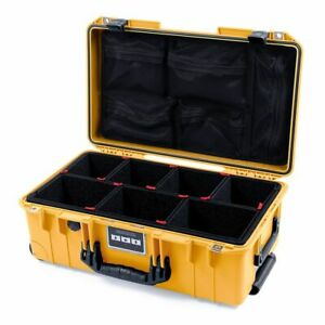 Yellow & black Pelican 1535 case with Trekpak dividers & mesh lid organizer.